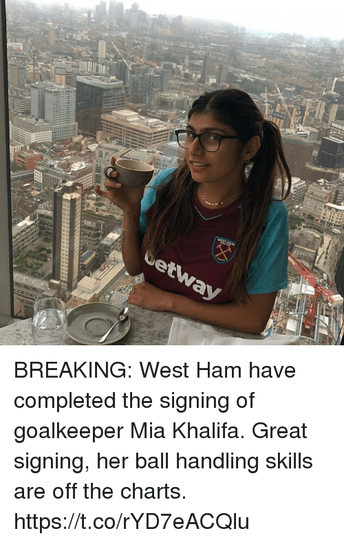 west ham: BREAKING: West Ham have completed the signing of goalkeeper Mia Khalifa.  Great signing, her ball handling skills are off the charts. https://t.co/rYD7eACQlu