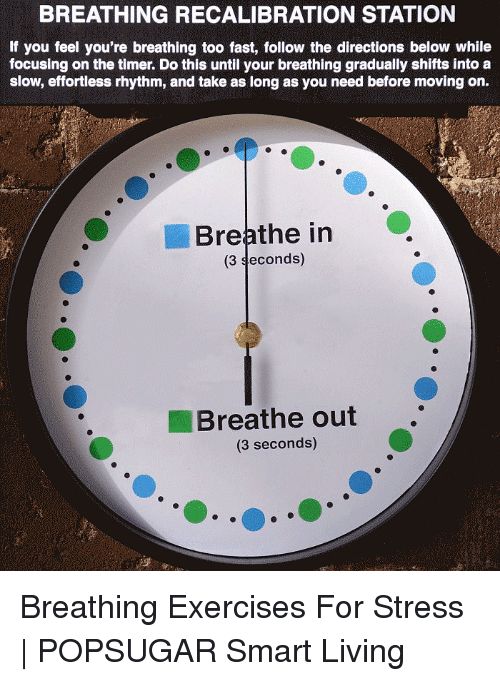Living, Stress, and Smart: BREATHING RECALIBRATION STATION  If you feel you're breathing too fast, follow the directions below while  focusing on the timer. Do this until your breathing gradually shifts into a  slow, effortless rhythm, and take as long as you need before moving on.  Breathe in  (3 seconds)  Breathe out.  (3 seconds) Breathing Exercises For Stress | POPSUGAR Smart Living