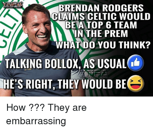 Thinked: BRENDAN RODGERS  CLAIMS CELTIC WOULD  BEA TOP 6 TEAM  N THE PREM  WHAT DO YOU THINK?  TALKING BOLLOX, AS USUAL  RIGHT, THEY WOULD BE  HE'S How ??? They are embarrassing