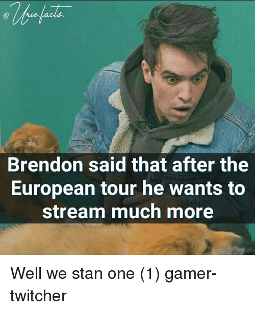 One 1: Brendon said that after the  European tour he wants to  stream much more Well we stan one (1) gamer-twitcher