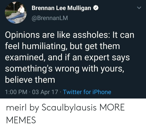 Examined: Brennan Lee Mulligan  @BrennanLM  Opinions are like assholes: It can  feel humiliating, but get them  examined, and if an expert says  something's wrong with yours,  believe them  1:00 PM 03 Apr 17 Twitter for iPhone meirl by Scaulbylausis MORE MEMES