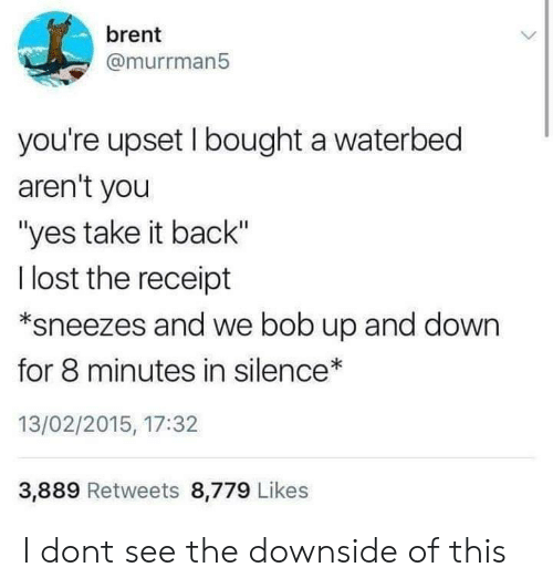 "up and down: brent  @murrman5  you're upset I bought a waterbed  aren't you  ""yes take it back""  l lost the receipt  *sneezes and we bob up and down  for 8 minutes in silence  13/02/2015, 17:32  3,889 Retweets 8,779 Likes I dont see the downside of this"