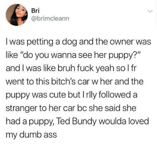 "Ass, Bruh, and Cute: Bri  @brimcleann  I was petting a dog and the owner was  like ""do you wanna see her puppy?""  and I was like bruh fuck yeah so I fr  went to this bitch's car w her and the  puppy was cute but I rlly followed a  stranger to her car bc she said she  had a puppy, Ted Bundy woulda loved  my dumb ass"