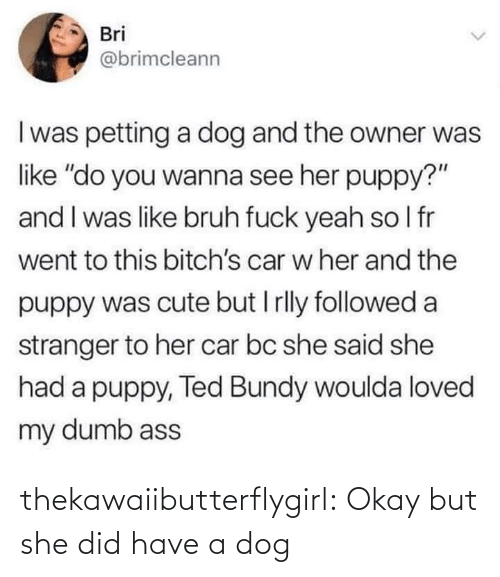 "followed: Bri  @brimcleann  I was petting a dog and the owner was  like ""do you wanna see her puppy?""  and I was like bruh fuck yeah so I fr  went to this bitch's car w her and the  puppy was cute but I rlly followed a  stranger to her car bc she said she  had a puppy, Ted Bundy woulda loved  my dumb ass thekawaiibutterflygirl:  Okay but she did have a dog"