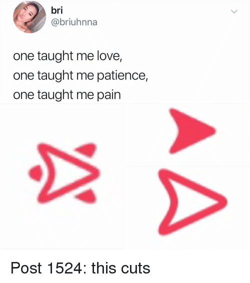 Love, Memes, and Patience: bri  @briuhnna  one taught me love,  one taught me patience,  one taught me pain Post 1524: this cuts