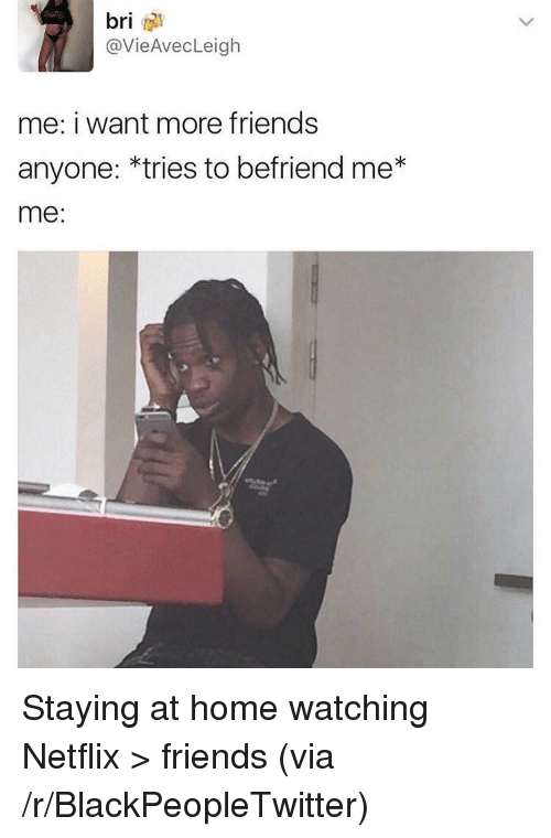 staying at home: bri  @VieAvecLeigh  me: i want more friends  anyone: *tries to befriend me*  me: <p>Staying at home watching Netflix &gt; friends (via /r/BlackPeopleTwitter)</p>