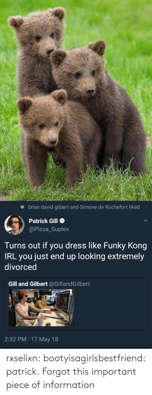 Extremely: brian david gilbert and Simone de Rochefort liked  Patrick Gill  @Pizza_Suplex  Turns out if you dress like Funky Kong  IRL you just end up looking extremely  divorced  Gill and Gilbert @GillandGilbert  2:32 PM · 17 May 18 rxselixn:  bootyisagirlsbestfriend:  patrick.  Forgot this important piece of information