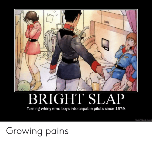 diy: BRIGHT SLAP  Turning whiny emo boys into capable pilots since 1979.  DIY.DESPAIR.COM Growing pains