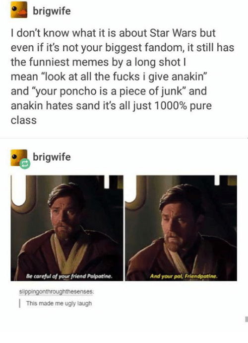 """Pured: brigwife  I don't know what it is about Star Wars but  even if it's not your biggest fandom, it still has  the funniest memes by a long shot l  mean """"look at all the fucks i give anakin'""""  and """"your poncho is a piece of junk"""" and  anakin hates sand it's all just 1000% pure  class  brigwife  Be careful of your friend Palpatine.  And your pal, Friendpatine.  slippingonthroughthesenses  This made me ugly laugh"""