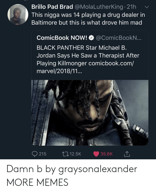 Black Panther: Brillo Pad Brad @MolaLutherking. 21h  This nigga was 14 playing a drug dealer in  Baltimore but this is what drove him mad  ComicBook NOW! @ComicBookN  BLACK PANTHER Star Michael B  Jordan Says He Saw a Therapist After  Playing Killmonger comicbook.com/  marvel/2018/11...  215 12.5K 35.6K Damn b by graysonalexander MORE MEMES
