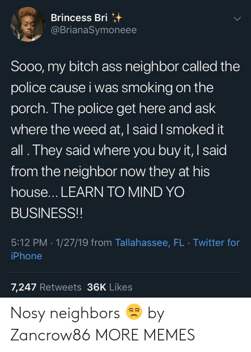 My Bitch: Brincess Bri  @BrianaSymoneee  Sooo, my bitch ass neighbor called the  police cause i was smoking on the  porch. The police get here and ask  where the weed at, I said I smoked it  all. They said where you buy it, I said  from the neighbor now they at his  house... LEARN TO MIND YO  BUSINESS!!  5:12 PM 1/27/19 from Tallahassee, FL Twitter for  iPhone  7,247 Retweets 36K Likes Nosy neighbors 😒 by Zancrow86 MORE MEMES
