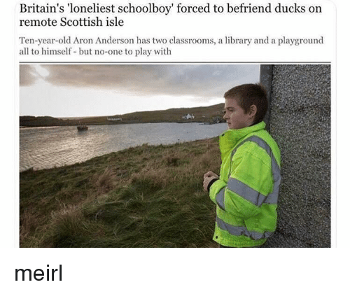 Scottish: Britain's 'loneliest schoolboy' forced to befriend ducks on  remote Scottish isle  Ten-year-old Aron Anderson has two classrooms, a library and a playground  all to himself but no-one to play with meirl