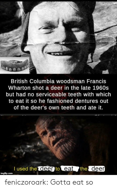 Columbia: British Columbia woodsman Francis  Wharton shot a deer in the late 1960s  but had no serviceable teeth with which  to eat it so he fashioned dentures out  of the deer's own teeth and ate it.  T used the deer to eat  the deer  imgflip.com feniczoroark:  Gotta eat so