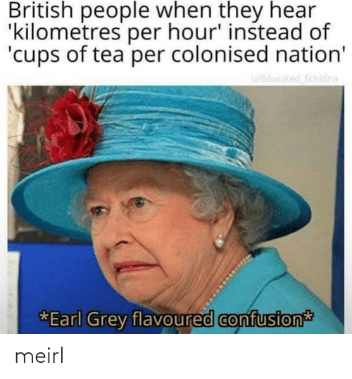 British: British people when they hear  'kilometres per hour' instead of  'cups of tea per colonised nation'  u/Educated Echidna  *Earl Grey flavoured confusion meirl
