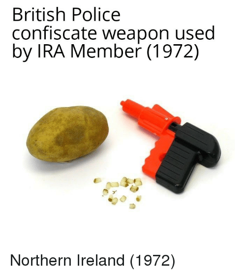 Ireland: British Police  confiscate weapon used  by IRA Member (1972) Northern Ireland (1972)