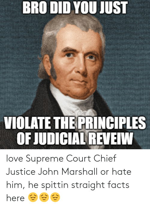Facts, Love, and Supreme: BRO DID YOU JUST  VIOLATE THE PRINCIPLES  OF JUDICIAL REVEIW love Supreme Court Chief Justice John Marshall or hate him, he spittin straight facts here 😔😔😔