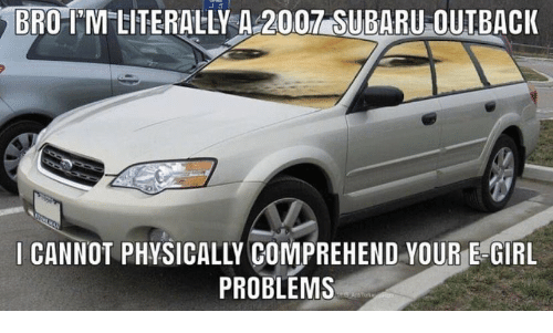 Physically: BRO-IM LITERALLY A 2007 SUBARU OUTBACK  I CANNOT PHYSICALLY COMPREHEND YOUR E-GIRL  PROBLEMS  AnTork n