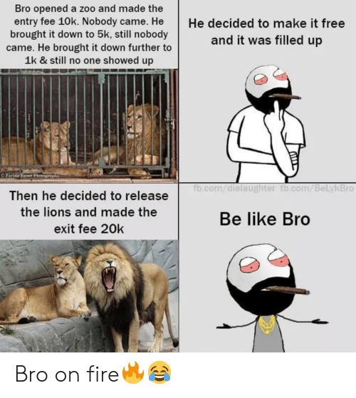 Be Like, Fire, and fb.com: Bro opened a zoo and made the  entry fee 10k. Nobody came. He  brought it down to 5k, still nobody  came. He brought it down further to  1k & still no one showed up  He decided to make it free  and it was filled up  OPara Beeer Phoophy  fb.com/dielaughter fb.com/BeLykBro  Then he decided to release  the lions and made the  Be like Bro  exit fee 20k Bro on fire🔥😂