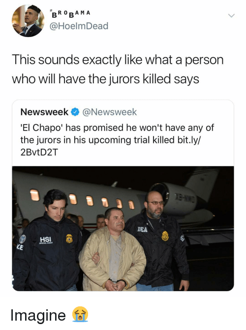 newsweek: BRO RA M A  @HoelmDead  Ihis sounds exactly like what a person  who will have the jurors killed says  Newsweek @Newsweek  'El Chapo' has promised he won't have any of  the jurors in his upcoming trial killed bit.ly/  2BvtD2T  DEA  HSI  SPECIALAGENT  CE Imagine 😭
