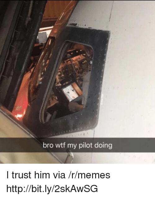 Memes, Wtf, and Http: bro wtf my pilot doing I trust him via /r/memes http://bit.ly/2skAwSG