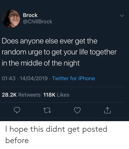 Iphone, Life, and Twitter: Brock  @ChillBrock  Does anyone else ever get the  random urge to get your life together  in the middle of the night  01:43 14/04/2019 Twitter for iPhone  28.2K Retweets 118K Likes I hope this didnt get posted before
