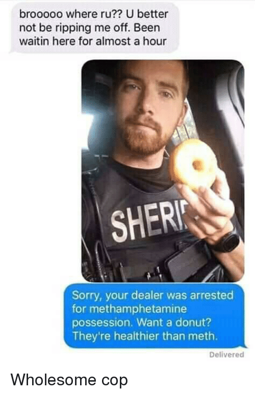 possession: brooooo where ru?? U better  not be ripping me off. Been  waitin here for almost a hour  SHER  Sorry, your dealer was arrested  for methamphetamine  possession. Want a donut?  They're healthier than meth.  Delivered Wholesome cop
