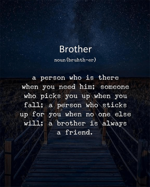 Sticks, Brother, and Who: Brother  noun (bruhth-er)  a person who is there  when you need him; someone  who picks you up when you  falli a person who sticks  up for you when no one else  will; a brother is always  a friend.