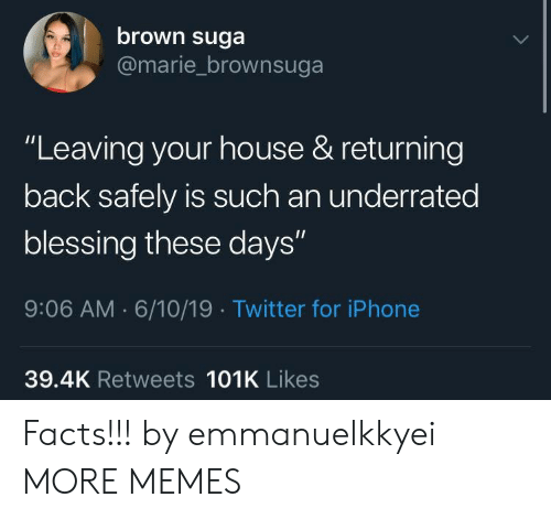 "Dank, Facts, and Iphone: brown suga  @marie_brownsuga  ""Leaving your house & returning  back safely is such an underrated  blessing these days""  9:06 AM 6/10/19 Twitter for iPhone  39.4K Retweets 101K Likes Facts!!! by emmanuelkkyei MORE MEMES"