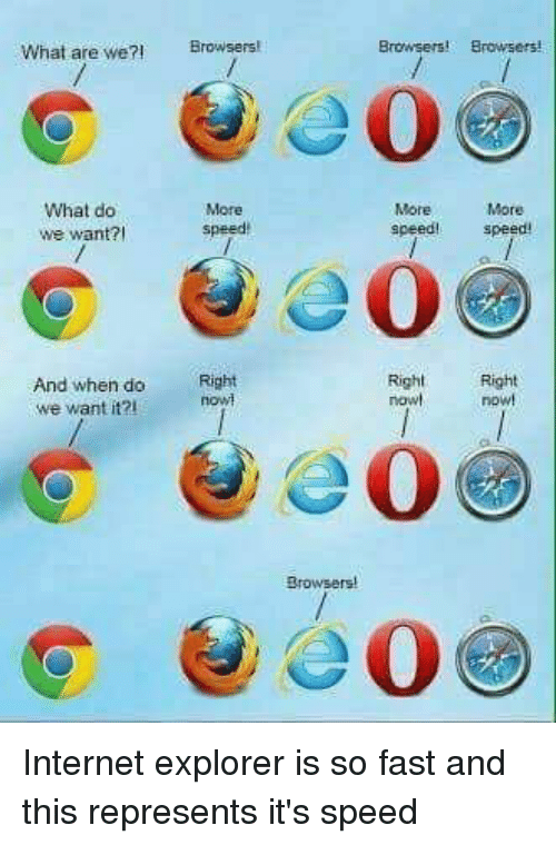 Browsers Browsers What Are We Browsers What Do We Want More Speed