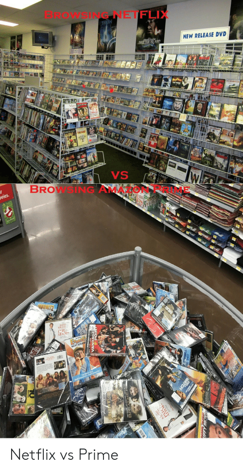 Amazon, Amazon Prime, and Netflix: BROwSING NETFLIX  NEW RELEASE DVD  Il-1  dam  VS  BROWSING AMAZON PRIME  vies Netflix vs Prime