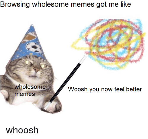 woosh: Browsing wholesome memes got me like  wholesome  memeS  Woosh you now feel better <p>whoosh</p>