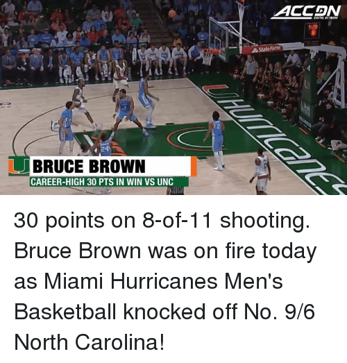 Hurrican: BRUCE BROWN  CAREER-HIGH 30 PTS IN WIN VS UNC  ACCADIN  5:20  State Farm 30 points on 8-of-11 shooting. Bruce Brown was on fire today as Miami Hurricanes Men's Basketball knocked off No. 9/6 North Carolina!