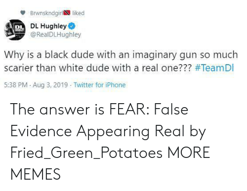 Appearing: Brwnskndgirl liked  PL DL Hughley  @RealDLHughley  HHLEY  Why is a black dude with an imaginary gun so much  scarier than white dude with a real one??? #TeamDI  5:38 PM Aug 3, 2019 Twitter for iPhone The answer is FEAR: False Evidence Appearing Real by Fried_Green_Potatoes MORE MEMES