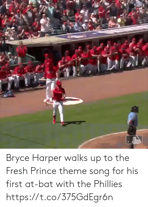 Themes: Bryce Harper walks up to the Fresh Prince theme song for his first at-bat with the Phillies https://t.co/375GdEgr6n