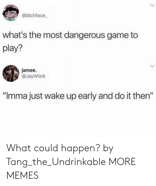 "tang: @btchface  what's the most dangerous game to  play?  jamee.  @JayWiick  ""Imma just wake up early and do it then"" What could happen? by Tang_the_Undrinkable MORE MEMES"