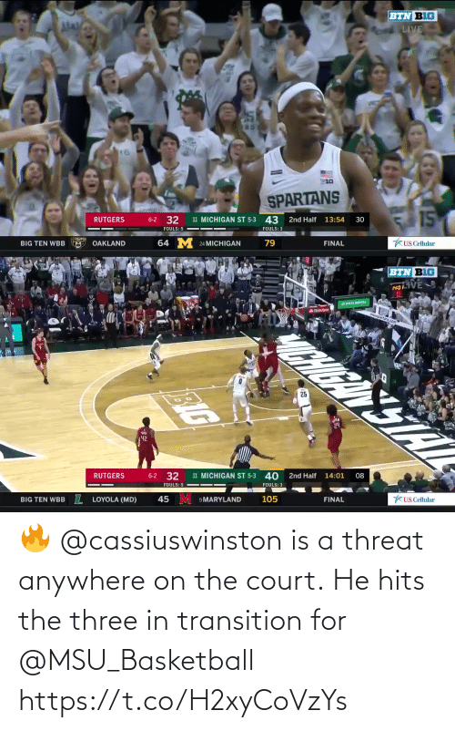 Basketball, Memes, and Live: BTN BIG  LIVE  16  E10  SPARTANS  15  11 MICHIGAN ST 5-3 43  6-2 32  RUTGERS  13:54  2nd Half  30  FOULS: 5  FOULS: 3  64 M 24 MICHIGAN  79  KUS. Cellular  BIG TEN WBB  OAKLAND  FINAL   BTN BIG  PRO VE  ASate Farm  msuspartans com  CHIGAN STAT  25  42  08  14:01  2nd Half  11 MICHIGAN ST 5-3 40  32  6-2  RUTGERS  FOULS: 3  FOULS: 5  KUS.Cellular  FINAL  105  45 M 9 MARYLAND  IL  LOYOLA (MD)  BIG TEN WBB  BIG 🔥 @cassiuswinston is a threat anywhere on the court.  He hits the three in transition for @MSU_Basketball https://t.co/H2xyCoVzYs