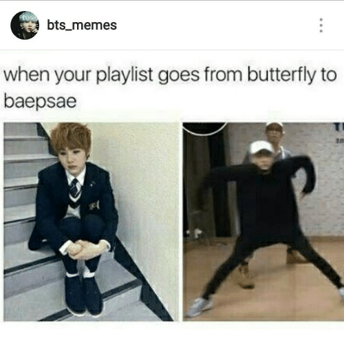 Baepsae: bts_memes  when your playlist goes from butterfly to  baepsae  10