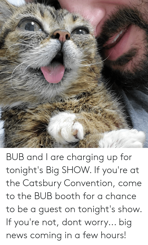 Memes, News, and Big Show: BUB and I are charging up for tonight's Big SHOW. If you're at the Catsbury Convention, come to the BUB booth for a chance to be a guest on tonight's show. If you're not, dont worry... big news coming in a few hours!