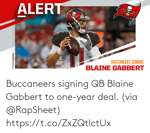 One Year: Buccaneers signing QB Blaine Gabbert to one-year deal. (via @RapSheet) https://t.co/ZxZQtlctUx