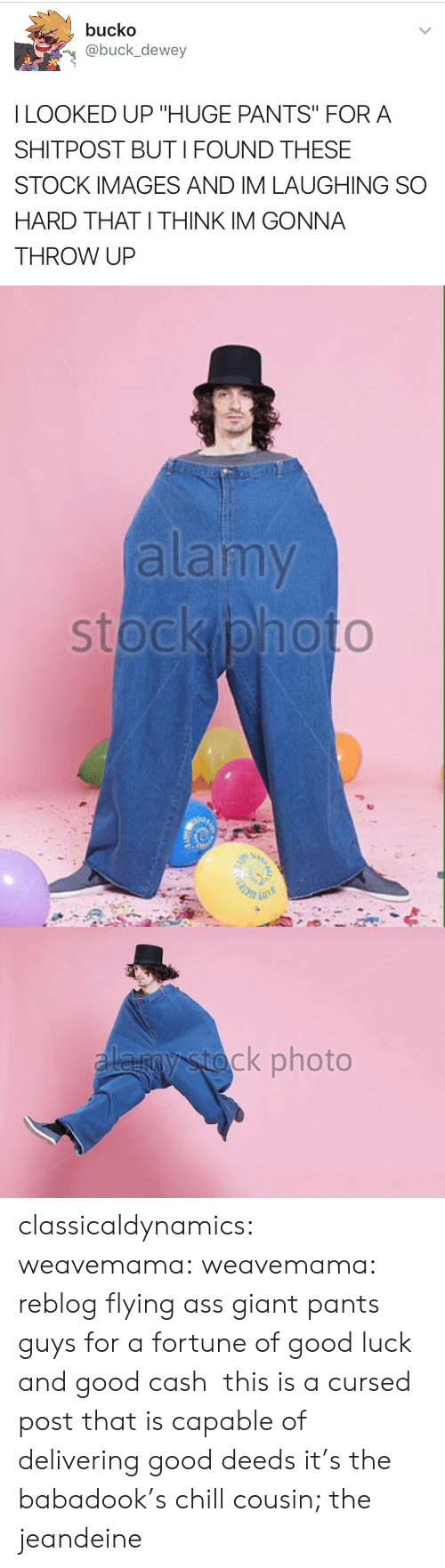 "Bucko: bucko  @buck_dewey  I LOOKED UP ""HUGE PANTS"" FORA  SHITPOST BUTI FOUND THESE  STOCK IMAGES AND IM LAUGHING SO  HARD THAT I THINK IM GONNA  THROW UP   alamy   ck photo classicaldynamics: weavemama:  weavemama:  reblog flying ass giant pants guys for a fortune of good luck and good cash   this is a cursed post that is capable of delivering good deeds  it's the babadook's chill cousin; the jeandeine"