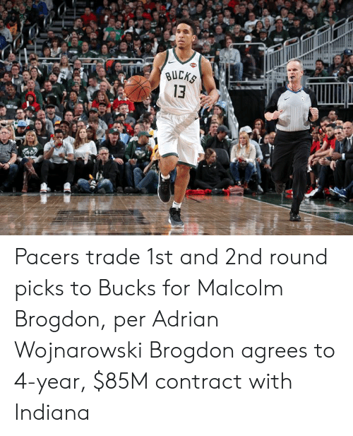 Indiana, Bucks, and For: BUCKS  13 Pacers trade 1st and 2nd round picks to Bucks for Malcolm Brogdon, per Adrian Wojnarowski  Brogdon agrees to 4-year, $85M contract with Indiana