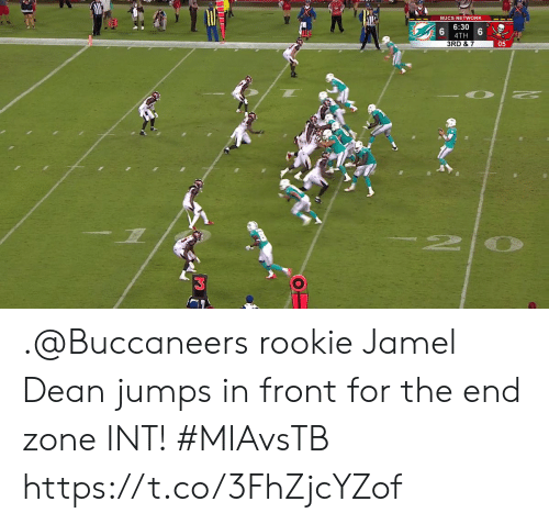 Dean: BUCS NETWORK  6:30  4TH  3RD & 7  05  2 .@Buccaneers rookie Jamel Dean jumps in front for the end zone INT!  #MIAvsTB https://t.co/3FhZjcYZof