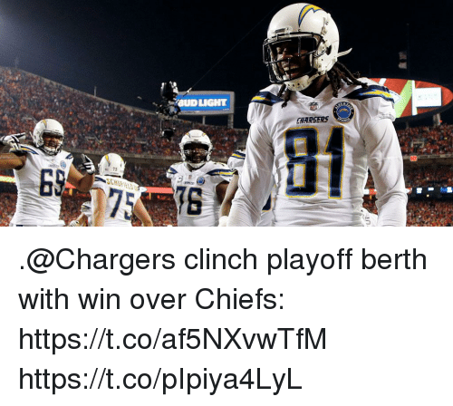 Bud Light: BUD LIGHT  CHARSERS .@Chargers clinch playoff berth with win over Chiefs: https://t.co/af5NXvwTfM https://t.co/pIpiya4LyL