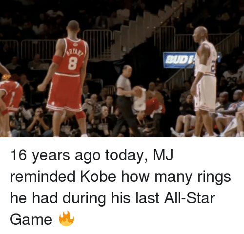 All Star Game: BUDI 16 years ago today, MJ reminded Kobe how many rings he had during his last All-Star Game 🔥