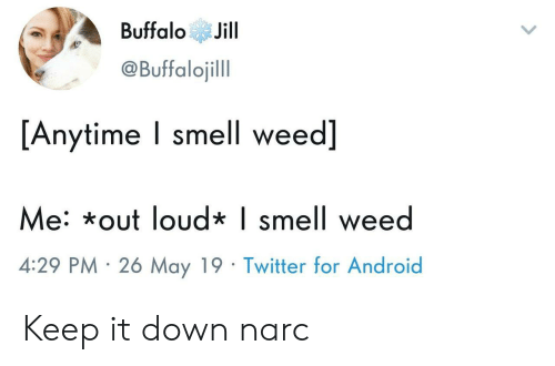 Android, Smell, and Twitter: BuffaloJill  @Buffalojill  [Anytime I smell weed]  e: *out loud* | smell wee  4:29 PM 26 May 19 Twitter for Android Keep it down narc