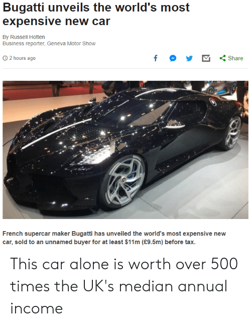Being Alone, Bugatti, and Business: Bugatti unveils the world's most  expensive new car  By Russell Hotten  Business reporter, Geneva Motor Show  2 hours ago  у У Share  French supercar maker Bugatti has unveiled the world's most expensive new  car, sold to an unnamed buyer for at least $11m (£9.5m) before tax. This car alone is worth over 500 times the UK's median annual income