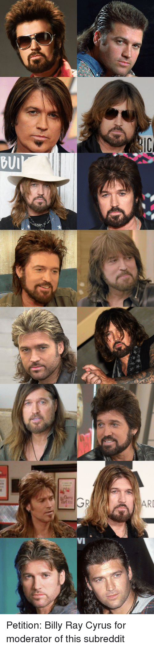 moderator: BUI  RI  VI Petition: Billy Ray Cyrus for moderator of this subreddit
