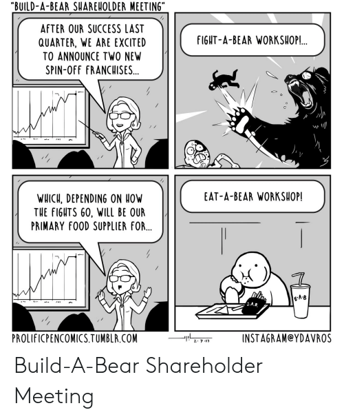 "Build a Bear: ""BUILD-A-BEAR SHAREHOLDER MEETING""  AFTER OUR SUCCESS LAST  QUARTER, WE ARE EXCITED  TO ANNOUNCE TWO NEW  SPIN-OFF FRANCHISES...  fIGHT-A-BEAR WORKSHOP!.  st  EAT-A-BEAR WORKSHOP!  WHICH, DEPENDING ON OW  THE FIGHTS 60, WILL BE OUR  PRIMARY fOOD SUPPLIER FOR...  e-A·B  PROLIFICPENCOMICS.TUMBLR.COM  INSTAGRAM@YDAVROS Build-A-Bear Shareholder Meeting"