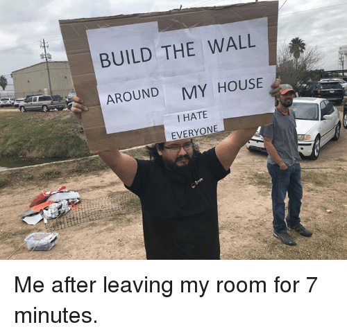 i hate everyone: BUILD THE WALL  AROUND  MY HOUSE  I HATE  EVERYONE Me after leaving my room for 7 minutes.