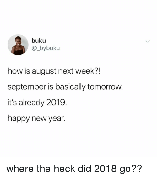 New Year's, Happy, and Tomorrow: buku  @_bybuku  how is august next week?!  september is basically tomorrow.  it's already 2019.  happy new year. where the heck did 2018 go??